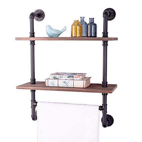 Altam Industrial Pipe Shelf with Towel Hanging Bar   Rustic 2 Shelving System for Pictures, Toiletries, Books, Home Decor   Heavy-Duty Metal, Vintage Fir Wood