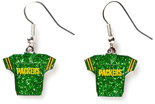 NFL Green Bay Packers Glitter Jersey Earrings