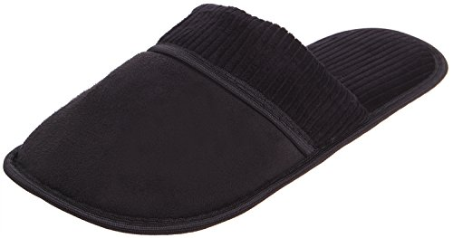 Enimay Mens Slippers House Shoes Slip On Padded Slides Soft Footbed 113 | Black vKWCI