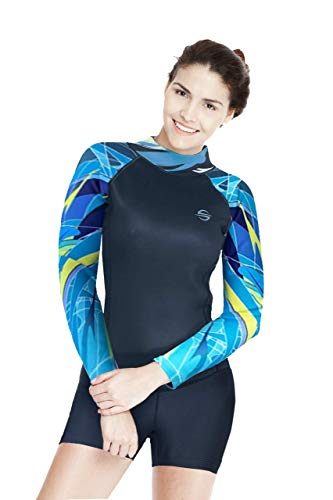 (Platinum Sun Women's Neoprene Shorty Wetsuit Long-Sleeve Swimsuit Water Suits for Diving Surfing Kayaking Canoeing Snorkeling - 2.0mm (Aqua, Small))