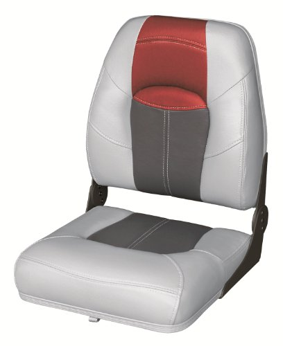 Wise 8WD1461-841 Blast-Off Tour Series Folding High Back Boat Seat (Grey/Charcoal/Red)