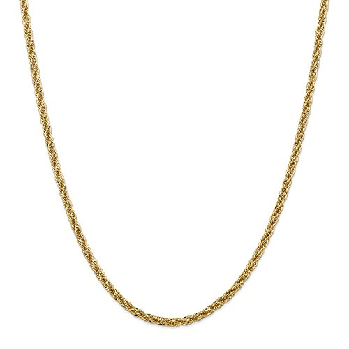 14k Yellow Gold 3.3mm Chain Necklace 24 Inch Pendant Charm Rope Fine Jewelry Gifts For Women For ()