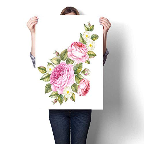 - Anshesix Canvas Print Wall Art Bouquet of Rose Invitation Card for Wedding Birthday and Other Holiday and Summer Background Botanical Illustration Artwork for Wall Decor 16