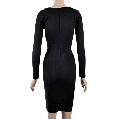 b08f47ca263d99 JOTHIN Damen Druck Bodycon Kleid V-ausschnitt Festkleid Etuikleider  Bleistiftkleid Partykleid Knielang Schwarz 4myXx ...