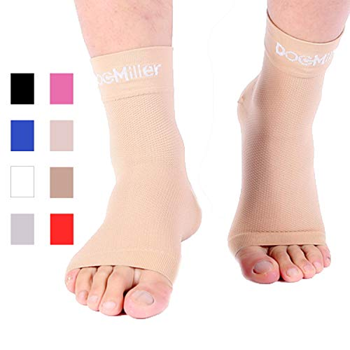 Doc Miller Plantar Fasciitis Compression Ankle Sleeve Anklet Socks for Aching Foot Heel Pain Relief Spurs Achilles Tendonitis Arch Support Eases Swelling Nerve Damage Medical Grade (Skin, Large)