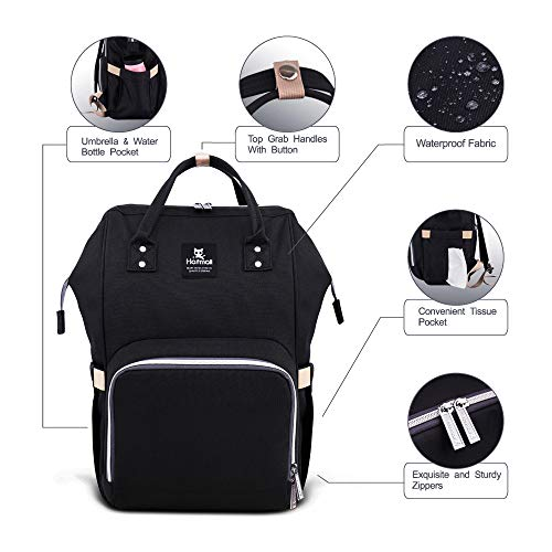 41X2i8JDhXL - Hafmall Diaper Bag Backpack - Waterproof Multifunctional Large Travel Nappy Bag (Black)
