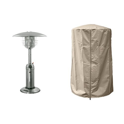 AZ Patio Stainless Finish Portable Table Top Patio Heater HLDS032-B with 39'' Heavy Duty Heater Cover - Tan