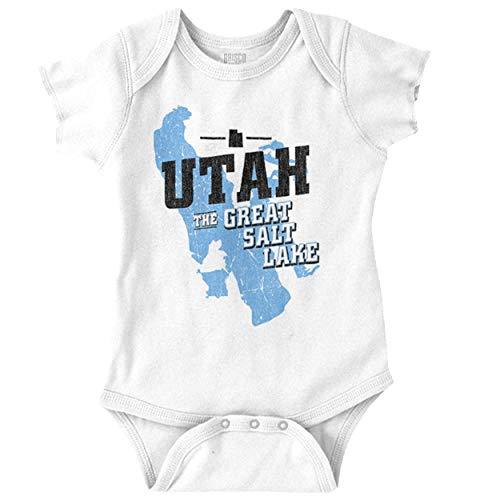 Great Salt Lake Utah State Pride Souvenir Romper Bodysuit White