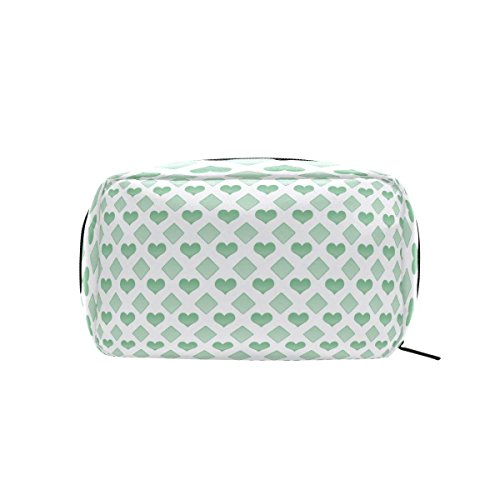 Green Love Makeup Bag Multi Compartment Pouch Storage Cosmetic Bags for Women Travel by Sunshine (Image #2)