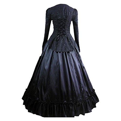 Black Schwarz Partiss Ghost Kostuem Gotik XXL Frauen viktorianische Schwarze Hexe Schwarz Halloween w7Avaq