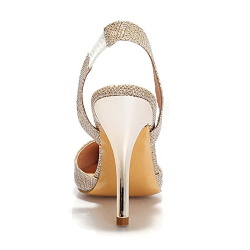 Toe Solid Closed Buckle AalarDom Womens Spikes Sandals Gold Stilettos wxqSnC4OY
