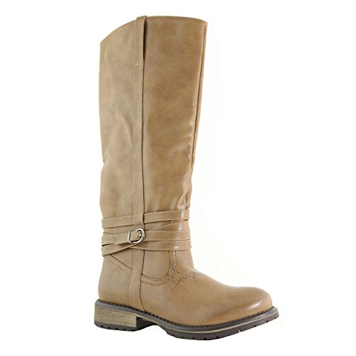 ANNA CATHY-6 Women Buckle Side Zipper round Toe Combact Riding Knee High Boot, Color:TAUPE, Size:7