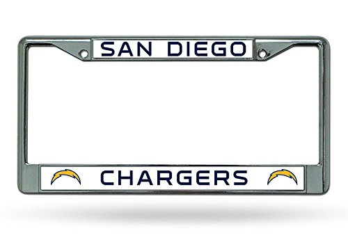 Rico Industries NFL San Diego Chargers Bolt Logo Chrome Licensed Plate Frame