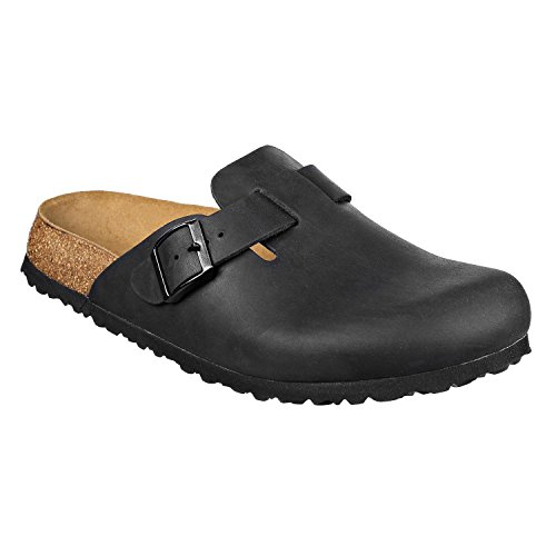 N Softbedded JOE Shoes Narrow and JOYCE Leather Mens Black Soft Clogs Womens Slippers 1qnwCxdBq