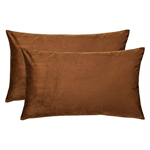 - Artcest Set of 2, Cozy Solid Velvet Throw Pillow Case, Decorative Couch Cushion Cover, Soft Sofa Euro Sham with Zipper Hidden, 12