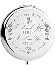 DIDADIC Birthday Gifts for Women Wife Girlfriend, Unique Gift Ideas for Mothers Day Anniversary Valentines, Engraved for Her, Metal, Silver, to My Wife (2.6inch)