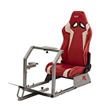 GTR Racing Simulator GTA-S-S105LRDWHT GTA Model Silver Frame with Red/White Real Racing Seat, Driving Simulator Cockpit Gaming Chair with Gear Shifter Mount