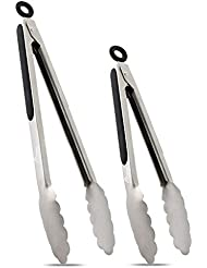 hotec stainless steel kitchen tongs set of 2 9 and 12 locking - Kitchen Tongs