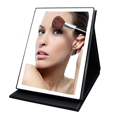 Black Leather Mirror - TVictory Foldable Portable Lighted Vanity Mirror with 35 LED Lights for Makeup Cosmetic, Touch Dimmable, 2 Power Supply Options, PU Leather Desktop Mirror for Traveling, Black