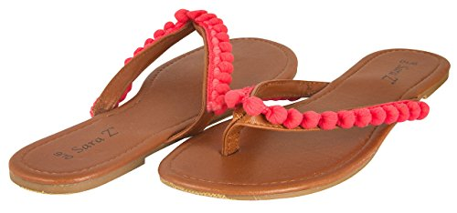 Sara Z Ladies Pom Pom Thong Sandal 11 Coral