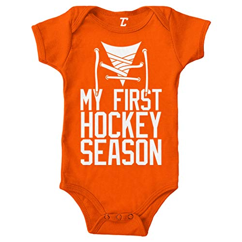 My First Hockey Season - Sports Fan Bodysuit (Orange, 6 Months) (Best Sports Fan Fights)