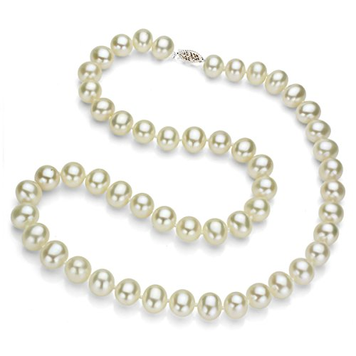 White Freshwater Cultured Pearl Necklace Strand 14K Gold Jewelry Women 18 inch