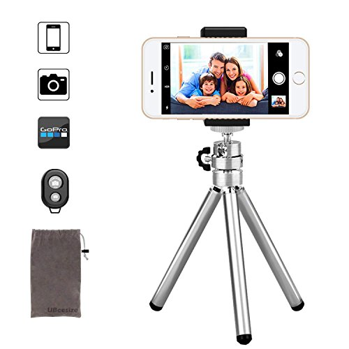 Phone Camera Tripod, UBeesize Compact Aluminum Tripod with Wireless Shutter Remote and Universal Phone Mount, Lightweight Small Portable Tripod Stand Holder for Camera, iPhone