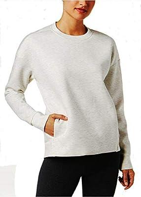 32 DEGREES Women's Drop-Shoulder Fleece Top: Heather White (Large)