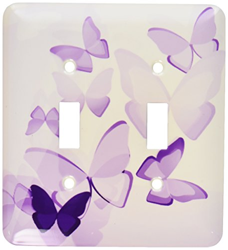 3dRose LLC lsp_101505_2 Pretty Transparent Purple Butterflies Double Toggle ()