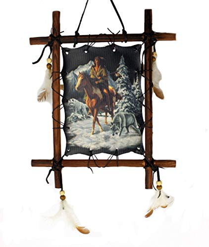 Framed Indian on Horse With Wolf Picture Native American Art 9 x 11 (including frame) Reproduction