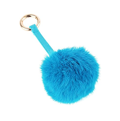 Genuine Large Fox Fur Pompoms Mobile Strap Keychain Fox Fur Ball Sky Blue