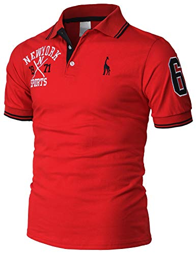 (H2H Mens Casual Slim Fit Polo T-Shirts Basic Designed with Giraffe Embroidery RED US M/Asia XL)
