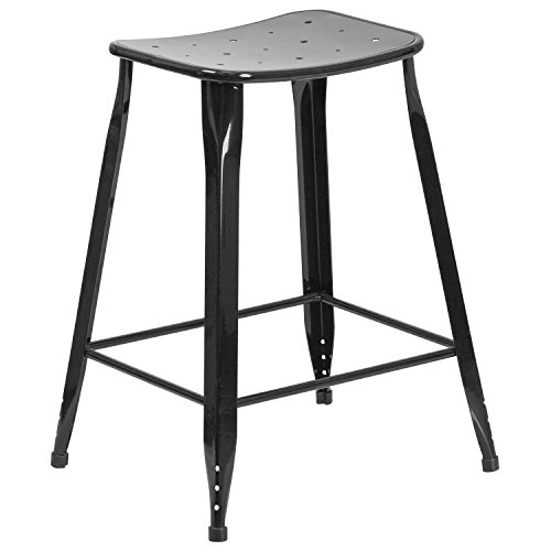 Flash Furniture 23.75'' High Black Metal Indoor-Outdoor Counter Height Saddle Comfort Stool Dining Room Bar