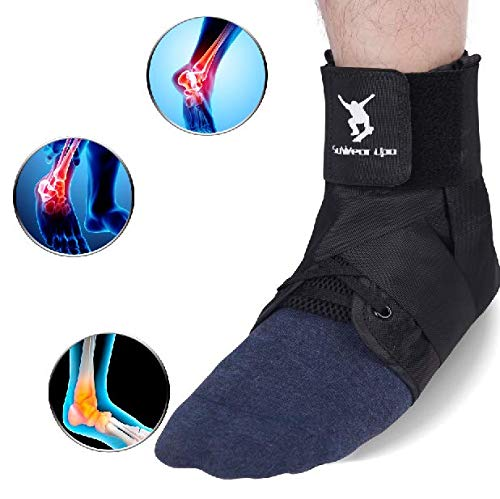 Ankle Brace, Lace up Ankle Brace Support for Women & Men, Adjustable Ankle Stabilizer,Spained Ankle Brace for Volleyball, Basketball (L)
