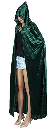 Cloak Costumes (Urban CoCo Women's Costume Full Length Crushed Velvet Hooded Cape (green))