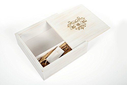 Antique Wedding White Maple 16GB USB Flash Drive - 4 x 6 Photo Box. Holds 125 Photos - Inserted into a Engraved Matching Maple Photo Box with Raffia grass inside - Wedding Mr & Mrs Design