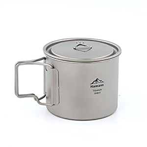 Hamans Titanium Pot 550ml Ultralight Portable Titanium Mugs Camping Titanium Cup