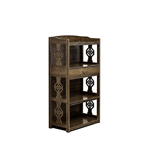 (Bookshelf Feifei Antique Bamboo Art Carved 3 Layers with Drawers Floorstanding Storage Cabinet Storage Shelf (Size : 522998CM))