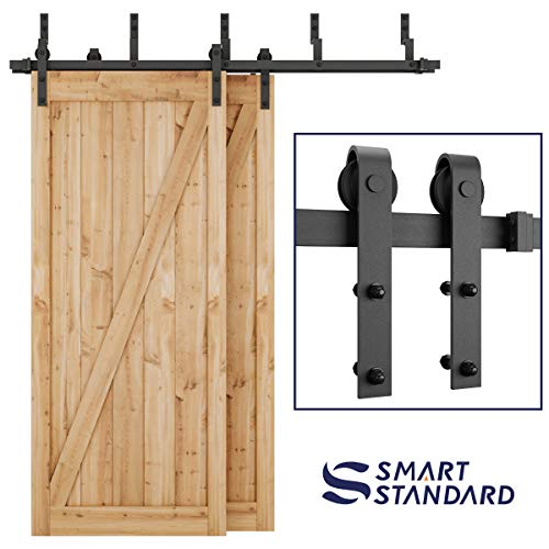 SMARTSTANDARD 6.6ft Heavy Duty Bypass Double Door Sliding Barn Door Hardware Kit - Smoothly &Quietly -Easy to install - Includes Step-By-Step Installation Instruction Fit 40 Wide Door Panel (J Shape)