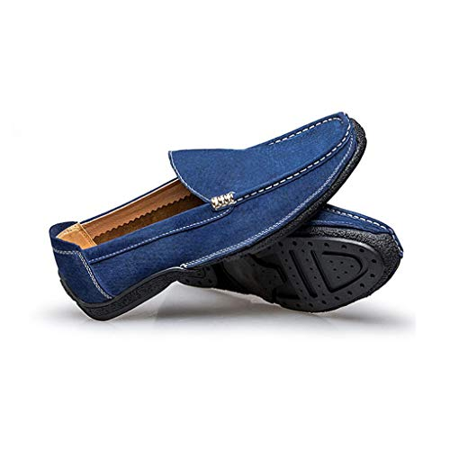 Azul los la Negro Libre Guisantes de conducción Gris de Zapatos Hombres Aire Deslizadores Mocasines Casuales Manera los Forrados y Azul al de Perezosos Zapatos Zapatos de Cuero de qgpwHOp