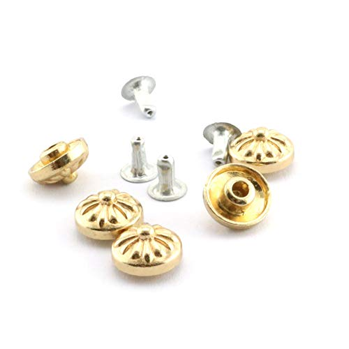 RuiLing 100 Sets Convex Nails 10mm Round Zinc Alloy Decorative Rivets Light Gold for Clothes Clothing Bag Shoes ()