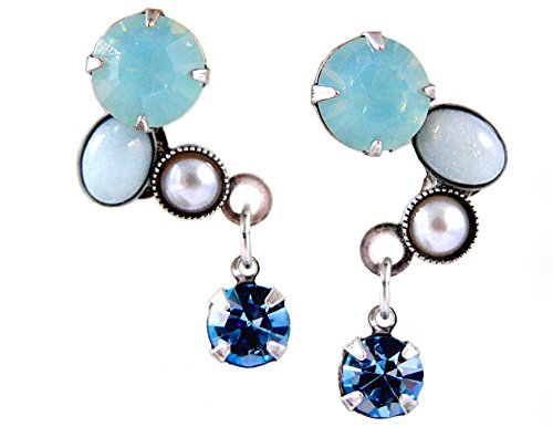 Pacific Opal Crystal Cascade Post Earrings - Pewter, Amazonite, Aqua-Blue Swarovski Crystal ()