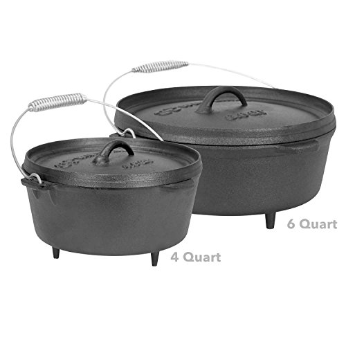 Winterial 6 Quart Cast Iron Camping Dutch Oven / Camping Cookware / Durable / Cooking (Cast Iron 6 Qt compare prices)