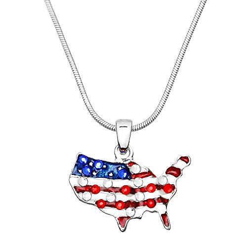 Lola Bella Gifts United We Stand Pendant USA American Flag Necklace with Gift Box