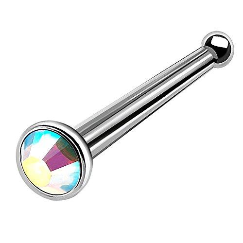 bodyjewellery 1pc 18g 1mm titanium nose bone Nostril screw hoops hoop rings bar earrings septum studs piercing D4TCS - AB