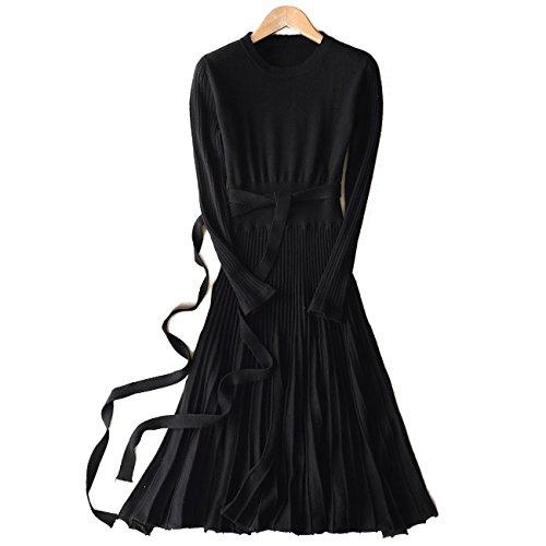 FINCATI Long Maxi Sweater Dress 2018 Spring Autumn Cashmere Belt Fitted Waist Pleated Midi Dresses (Black, M)