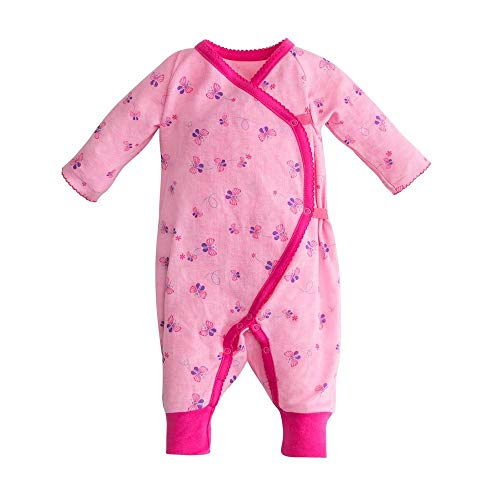 (Under the Nile Organic Cotton Baby Girl Butterfly Printed Long Sleeve Side Snap Kimono (0-3m))