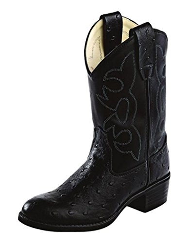 Old West Jama Childrens Ostrich Print Western Boots - Black