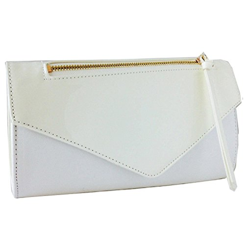 Xardi London Vintage ante sintético de embrague mujeres dama patente sobre Prom noche bolsos blanco