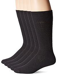 Happy Foot Men's 5 Pair Happy Foot Classic Sock, Black, One Size